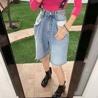 Fashion Streetwear Spring Summer Jeans Unique Vintage Wash Light Blue Wrinkle Frayed Hem Short Lady Women's