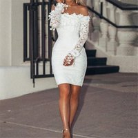 Women Lace Dress Off Shoulder Lone Sleeve White Floral Ladies Bodycon Dresses Evening Party Sundress Casual