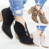 Leopard ladies boots high heels classic ankle boots for women leather non-slip plus size autumn winter shoes K0nB#