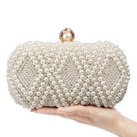 Abendtaschen 2021 Luxus Handgemachte Hochzeit Kupplung Handtasche Perle Tasche Kleid Abendessen Kleine Handtasche Brautjungfer weiß