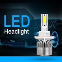 Car Headlights COB H13 C6 72W 8000LM LED Headlight Kit Hi Lo Beam Turbo Light Bulbs 6000K Automobiles Parts Accessories