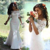 Vintage Lace Wedding Dresses Mermaid Bridal Gowns Half Long Sleeves Bateau Neck Lace-Up robe de marriee