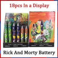 Batterie de préchauffage de la bande de cartoon R et M 650MAH / 900mAh / 1100mAh 3 dans une tension variable de cigarette E 510 Tension pour l'atomiseur d'huiles épaisses
