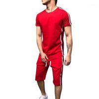 Homens lasperais definem lateral de moda listrado patchwork mens colheres esportivos casuais manga curta t-shirt t-shirt short shorts terno macho1