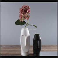 Vases Décor Home & Gardenminimalist Ceramic Abstract Black And White Human Face Creative Display Room Decorative Figue Head Shape Vase Drop D