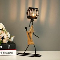 Candle Holders Creative Nordic Metal Candlestick Abstract Character Sculpture Holder Decor Handmade Figurines Home Decoration Art Gift