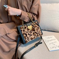 Leopard Print Plüsch Tasche 2020 Neue Mode Herbst und Winter Plüsch Eine Schulter Messenger Bag Frauen Kleine Quadrattasche C0505