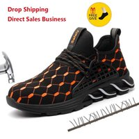 Boots XPUHGM Men Women Work Safety Shoes Breathable Air Mesh Steel Toe Cap Anti-Smashing Construction Sneakers