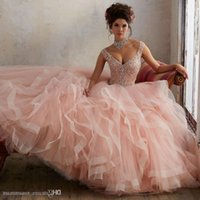 Quinceanera Dress Ball Gown Gorgeous Beaded Cap Sleeves Sweetheart Organza Layered Coral Mint Girl Sweet 16 Dress