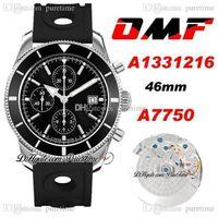 OMF Supercean Heritage II A7750 Otomatik Chronograph Erkek İzle A1331216 46mm Siyah Çerçeve ve Arama Sopa İşaretleyiciler Kauçuk Delikler Süper Sürüm Saatler Puretime E5
