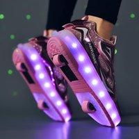 키즈 롤러 스케이트 스니커즈 소년 소녀를위한 테니스 신발을 주도하는 USB 어린이 소년 소녀 발광 패션 스니커즈 2 더블 바퀴 운동 ou
