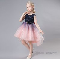 Girls Sequins gradient sky lace tulle dresses Ball Gown stereo pearls flowers applique princess dress for children big Bows wedding clothing Q0270