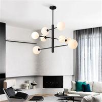 Pendant Lamps Glass Ball Chandelier Minimalist Living Room Dining Villa Clothing Store Propeller Wrought Iron Post Modern LED Bulbs White