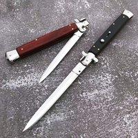 Mafia Black Ox Bone Silber Bajonettblatt Aluminium Griffholz Inlay Automatisches taktisches Messer Outdoor Survival Tool Selbstverteidigungsmesser