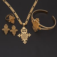 2017 New Arrival Ethiopian Jewelry Sets 14k Yellow Real Solid Gold GF Ring Necklace bracelet African  Ethiopian  Eritrean  Habesha