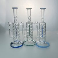 Straight Tube Glass Bong Fab Egg Hookah Inline Perc 14mm Female Joint Water Pipe Multi Colors Ice Pinch Bongs Oil Dab Rig With Bowl Hookahs Pipes