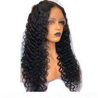 360 Dantel Frontal Peruk Preeklu Doğal Saç Çizgisi Dantel Ön İnsan Saç Peruk Siyah Kadınlar Için Derin Kıvırcık Peruk Ile Bebek Saç Siyah Renk 12QU