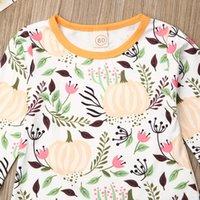 할로윈 신생아 소녀 의상 탑스 호박 티셔츠 + 투투 스커트 옷 축제 바지 세트