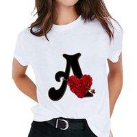 여성용 T 셔츠 T 셔츠 사용자 정의 이름 편지 조합 인쇄 Tshirt Flower Font A B C D E F G 짧은 소매 숙녀