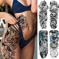 Büyük Kol Kol Dövme Tabancası Gül Aslan Su Geçirmez Geçici Tatto Sticker Saat Çiçek Bel Bacak Vücut Sanatı Tam Sahte Dövme Kadınlar