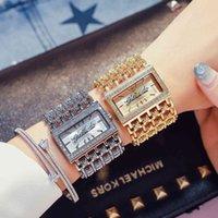 Designer Luxe Merk Horloges Rhinestone Dames Crystal Dames Pols Vierkante Armband Vrouwelijke Klok Gold Diamond Voor