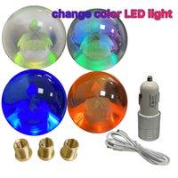 LED Light Ball Shape Acrylic Gear Shift Knob Floating Emblem Mitsubishi