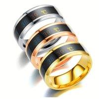Smart Sensor Body Temperature Ring men Stainless Steel Rings women Fashion Display Real-time Test Finger