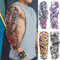 큰 팔 슬리브 문신 일본 용 방수 임시 문신 스티커 신디 아트 전체 가짜 Tatoo 여성 남성