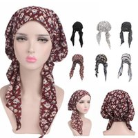 Women's Chemo Hat Pre Tied Ruffle Head Scarves Turban Headwear For Cancer Shower Caps