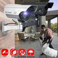 Fake Camera Solar Power Outdoor Simulation Dummy Waterproof Security CCTV Surveillance With Flashing LED Light IP Cameras