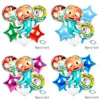 6 قطعة / الحقيبة الكرتون الملحقات cocomelon جي الألومنيوم السينمائي البالونات ستة قطعة مجموعات مزدوجة الوجهين أطفال عيد ميلاد حزب بالون الزخرفية