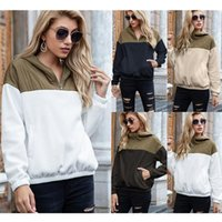 Women's Hoodies & Sweatshirts 2021 Autumn Selling Style European And American Double Color Block Head Hooded Loose Plush Casual Personality