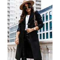 Women's Wool & Blends Coats And Jackets Ladies Daily Classic Casual Coat 2021 Autumn Winter Solid Color Long Sleeved Suit Collar Woolen Wome