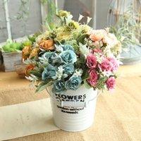 Bırak 8 Kafaları Yapay Sahte Şakayık İpek Çiçek Gelin Ortanca Ev Düğün Dekor Dekoratif Çiçekler Çelenk