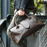 Duffel Bags Vintage Crazy Horse Genuine Leather Duffle Bag Travel Natural Cowhide Large Weekender