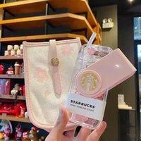 2021 한정판 290ml 스타 벅스 정품 머그잔 발렌타인 데이 벚꽃 핑크 귀여운 회전 밀짚 컵 캔버스 가방