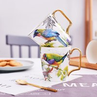 Mugs 400ml Ceramic Mug With Golden Handle Pastoral Flower And Bird Tea Cup Milk Office Drinkware Gift Home Decoration