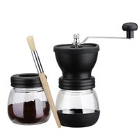 -Manual Coffee Grinder With Storage Jar ,Soft Brush , Conical Ceramic Burr Quiet And Portable Roasters