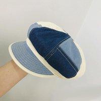 Stingy Brim Hats Fashion For Women British Style Beret Spring Summer Octagonal Cap Denim Patchwork Retro Visor Artist Hat Travel