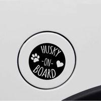 11.4CM*11.4CM HUSKY ON BOARD Lovely Print Vinyl Car Sticker Decal Black