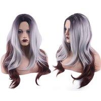 Perucas de cabelos humanos 28 polegadas 70cm bobo bobo gradiente de três cores mid-section wig set