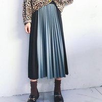 Skirts LANMREM 2021 Spring Summer Hit Color Patchwork Pleated Half-body Skirt For Women Casual All-match Longuette Woman Tide YJ115