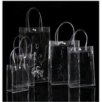 Gift Wrap 150pcs lot 20*16*8cm Transparent Soft PVC Tote Packaging Bags With Hand Loop, Clear Plastic Handbag, Cosmetic Bag