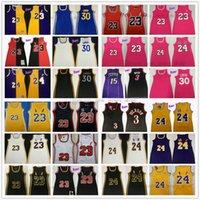 Mitchell und Ness Frauen Kleid Basketball-Trikots Retro-Nähte 3 Allen Dwyane Iverso Wade 30 Stephen 23 James Curry Jersey Rosa Schwarz Weiß Gelb Rot Größe S-XL