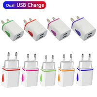 Flash Light Dual usb ports Universal US EU AC home wall charger adapter power 2.1A+1A for Samsung s8 s9 s10 note 8 9 10 htc android phone