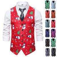Men's Vests Men Waistcoat Festival Christmas Suit Coat Vest Snowman Xmas Fancy Vintage Button Up Party Sleeveless Jacket Man