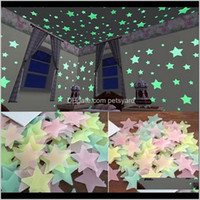 Décor & Garden100Pcs 3D Stars Glow In The Dark Wall Stickers Luminous Fluorescent For Kids Baby Room Bedroom Ceiling Home Decor Drop Deliver