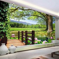 Lujo Europeo Moderno HD 3D Paisaje de árbol de fondo Fondo mural Papel pintado 3D Papeles de pared 3D para TV Thackdrop 1455 V2