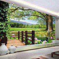 Luxury European Modern HD albero 3d Paesaggio Paesaggio Sfondo Murale Carta da parati 3D Carta da parete 3D per TV BackDrop 1455 V2