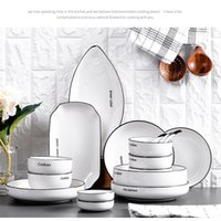 Bowl European Einfacher Brief Unterglasur Farbe Keramik Geschirr Familie Suppe Bone China Essstäbchen Teller Set CombN050